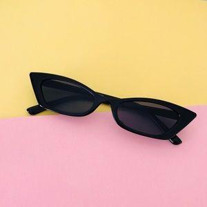 Accessories - Retro Slim Cat Eye Black Sunglasses
